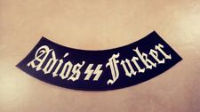 Adios  Fu*ker with Bolts Side Rocker Patch, Black & White Harley, Outlaws 1%er