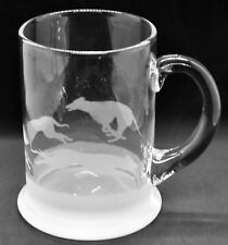 More details for greyhound frieze boxed 57cl crystal pint handled tankard