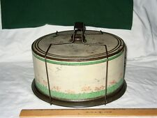 Vintage 1950s Metal Tin Cake Keeper Carrier Flowers Shabby Chic Bail Handle Cool