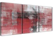 3 Pannello Rosso Nero Bianco Corridoio Pittura Tela Arte Astratta - 3397 - 126cm
