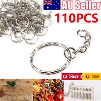 110 Pcs Bulk Split Metal Key Rings Keyring Blanks With Link Chains For DIY Craft