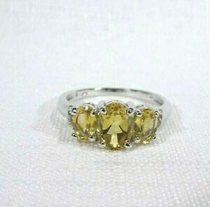 2.00 ct Natural Oval Cut Citrine & White Topaz Solid Sterling Silver Ring