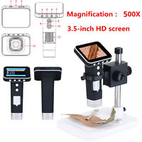 500X HD Portable USB Digital Microscope Camera with 3.5'' LCD Screen + Stand