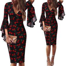 Womens Deep V-Neck Ruffle Bell Sleeves Print Casual Party Bodycon Sheath Dress