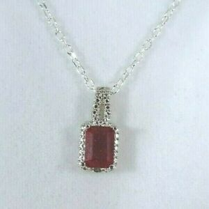 1.33ct Natural Ruby & Diamond Solid Sterling Silver Italy Necklace-51.5 cm Chain