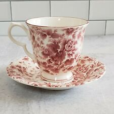 New Nikko Footed Tea Cup & Saucer Red Sweetheart Roses 8076351