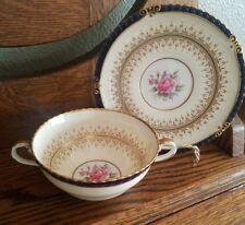 Rutherglen Cobalt Cream Soup Cup & Saucer Aynsley  7638