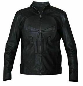 Punisher Padded Embossed Skull Black Biker Real Leather Jacket