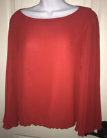 Vince Camuto Pleated Chiffon Bell Sleeve Bright Red Blouse Top Sz SMALL
