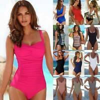 Women Summer Tummy Control Swimsuit Swimwear Padded Monokini One Piece Outfits