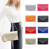 1PC Women Rhinestone Frosted Bag Pleated Envelope Clutch Shoulder Handbag