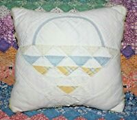 Throw Pillow From A Vintage 1930's Farmhouse Patchwork Basket Handmade Quilt