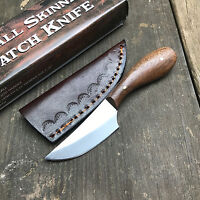 """4 5/8"""" Overall Brown Wood Handle Full Tang Patch Knife W/Leather Sheath 7990 New"""