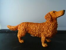 Dachshund figure Castagna long haired brown large made in Italy with certificate