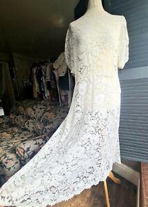 Vintage Lace Maxi Dress, 1980s, Ivory, Size 12-16