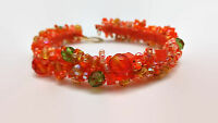 """Orange Beaded Coral Reef Bracelet With Gold Filled Hook Clasp  7.5"""""""
