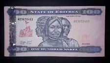 •Eritrea  100 nakfa banknote, 2004year(normal condition)