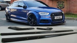 AUDI A3 S3 S-LINE SIDE SKIRTS EXTENSIONS BLADES AND SPATS 16-19 SALOON BODY KIT.