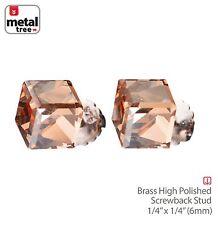 Men's Women's 925 Sterling Silver Crystal 3D Cube Stub Screw Back Earrings BROWN