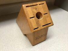 Cutco 7 Slot Galley Knife Block Solid Honey Oak Usa Good Used Condition Look!