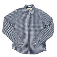 Abercromber And Fitch Mens Size S Long Sleeve Gingham Button Up Shirt Navy Blue