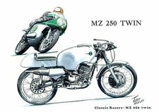 MZ 250 Twin Isle of Man TT Racing German Motorbike Motorcycle Birthday Card
