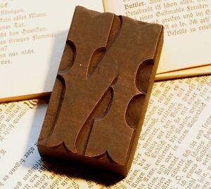 "Letter ""N"" rare decorative wood type character letterpress printing block font"
