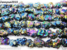 Multi-Colored Metallic Titanium Coated Natural Quartz Crystal Druzy Beads 16''