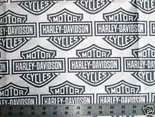 "Biker White HARLEY DAVIDSON Gray Bar and Shield logo Quilt Fabric 36""x35"" long"