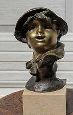 antique 1800s Francesco Paolo Michetti bronze child bust statue sculpture marble
