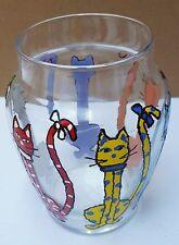 "Glass Vase Folk Art Painted Whimsical Cats Colorful 5.5"" Signed Lp Polka Dot"