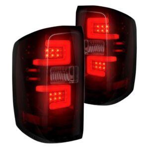Recon 264238RBK Black Red/Smoke Fiber Optic LED Tail Lights for 14-17 Silverado