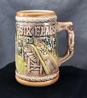 Vintage Six Flags Beer Stein Mug Log Flume Train and Car Original Tag Retro