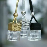 Car Hanging Perfume Rearview Air Freshener Essential Oils Empty Glass Bottle b b