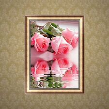DIY Pink Roses 5D Diamond Embroidery Painting Flower Cross Stitch Home Decor