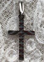 1970s Silver Crucifix Pendant Small Cross Religious Prayer Christianity Vintage