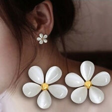 1Pair Elegant Women Silver Plated Cat Eye Stone Flower Ear Stud Earrings Jewelry