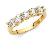 14k Solid Yellow Gold Round Cut Diamond Wedding Band Ring