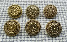 6 x Gold Tone Metal Look Buttons 18mm Vintage Gothic Steampunk Style