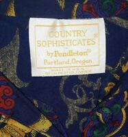 Pendleton Country Sophisticates Blouse Shirt Top Blue Womens Size 10 Made in USA