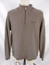 Tommy Bahama Mens Shirt Jacket Brown Small 1/4 Zip Long Sleeve Pull Over GG414