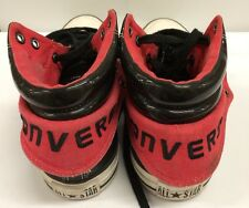 CONVERSE ALL STARS HIGH TOP BLACK LEATHER / RED SNEAKERS WOMENS SIZE 9 Fold