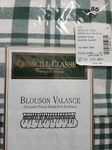 Croscill Valance Blouson Green Plaid Country Farmhouse NEW