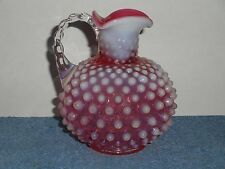 FENTON CRANBERRY OPALESCENT HOBNAIL CRUET MOUTH BLOWN NO STOPPER 1940-1960
