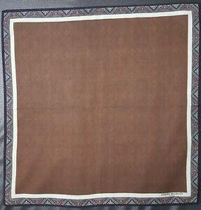 """Pierre Balmain Men Edge Classic Vintage Plain Brown Cotton Handkerchief 18"""""""