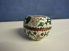 Vintage/Antique CHINESE CLOISONNE WHITE ENAMEL TRINKET BOX - Apple shape