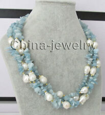 "20"" 4row 15mm white Reborn Keshi baroque freshwater pearl & aquamarine necklace"