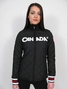 HBC HUDSONS BAY 2010 TEAM CANADA OLYMPIC BLACK QUILTED PODIUM JACKET COAT~XS