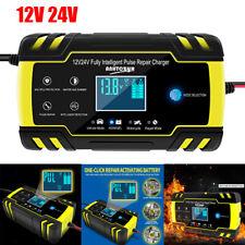 Car Battery Charger 12V 24V Intelligent Automobile Pulse Repair Starter AGM/GEL