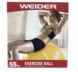 Weider Fitness Ball 55cm Yellow With Hand Pump Exercise Chart New in Box